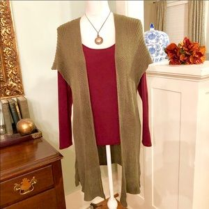 Chaps Olive Green Vest Sweater Cardigan